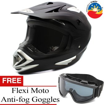 KING COBRA Motocross Motorcycle Helmet by Everstrong (Matte Black)With FlexiMoto Glasses