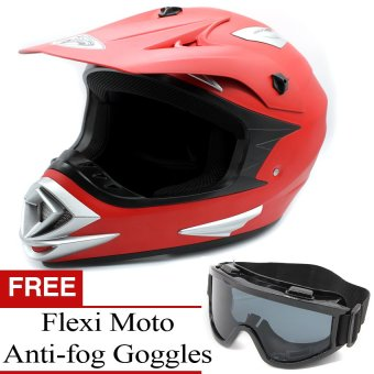 KING COBRA Motocross Motorcycle Helmet by Everstrong (Matte Red)With FlexiMoto Glasses