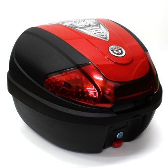 King Cobra Motorcycle/Scooter Top Box Tail Trunk LuggageCompartment Box ( Black /Red)