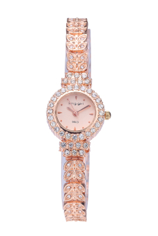 King Girl Royal Rose Gold Bracelet Watch Women Top Brand Unique Full Crystal Diamonds for Ladies Quartz Round Gold