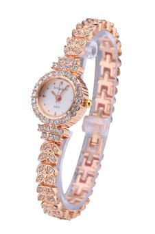 King Girl Royal Rose Gold Bracelet Watch Women's Top Brand UniqueFull Crystal Diamonds for Ladies Quartz Round White