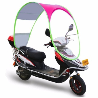 King's Simple Motorcycle Canopy Motorbike Roof Motor Bicycle Sun Visor Shade Tent Umbrella Windshield (Pink)