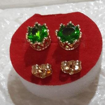Korean Crown earring with  Good luck Charm (jade green) Hypoallergenic