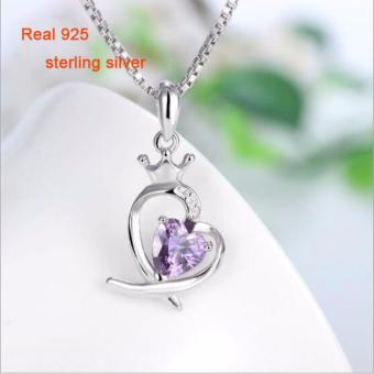 Korean Fashion Silver Jewelry 925 Sterling Silver Heart CrownPendant Neclace for Queen - intl