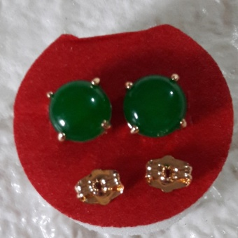 Korean Round earring with green Jade stone Good luck Charm Hypoallergenic