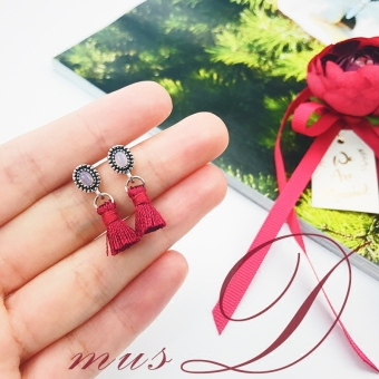 Korean-style Burgundy color female tassled earrings cute stud