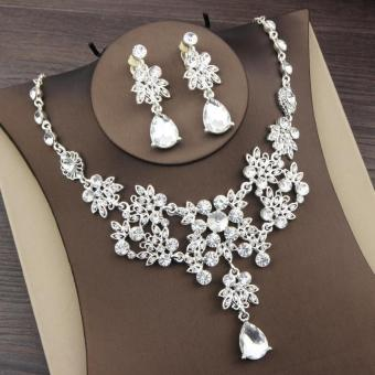 Korean style crystal bride necklace earrings two pieces sets necklace