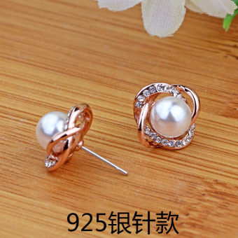 Korean-style female elegant sterling silver earrings pearl stud