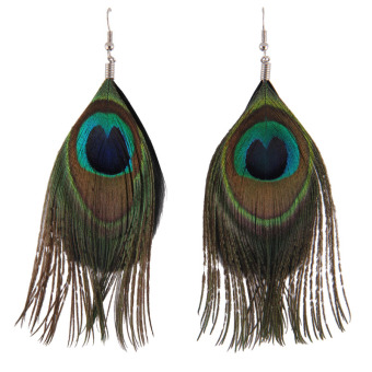 Korean-style New style exaggerated Peacock feather stud