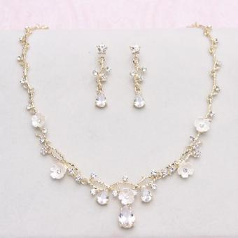 Korean style organza wedding dress crystal necklace bride necklace earrings