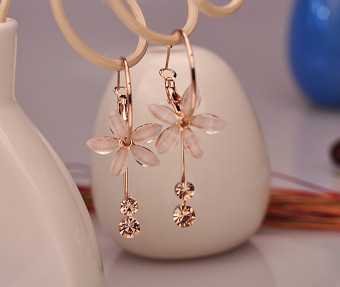Korean-style tassled female elegant earrings