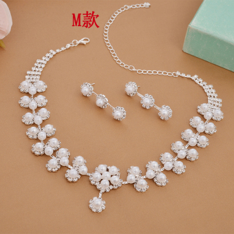 Korean style yarn two piece suit bride necklace earrings