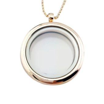 Kuhong Chic Locket Pendant Necklace Round Glass Living MemoryFloating Jewelry - intl