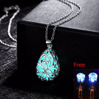 La Vie Wishing Tear Drop Glow in the Dark Pendant Necklace + EarStuds - intl