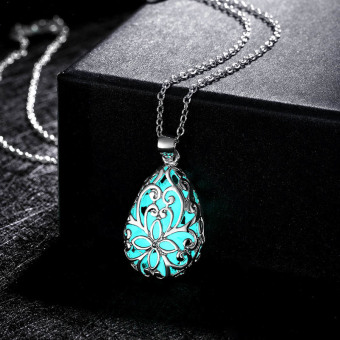 La Vie Wishing Tear Drop Glow in the Dark Pendant Necklace(Cyan)