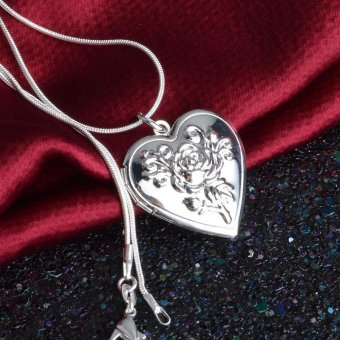 LALANG Rose Flower Heart Shape Photo Locket Pendant Necklace Silver Plated Jewelry Gift