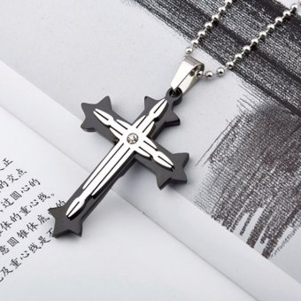 L&T Fashion 2-Layer Cross Pendant Stainless Steel CrossNecklace Ex218 (Black)