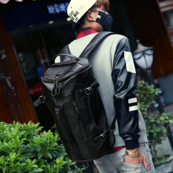 Large Capacity Travel Bag Pu Leather Drum Backpack MenMultifunction Bags Bucket Shoulder Bag Combined Duffle Bag - intl