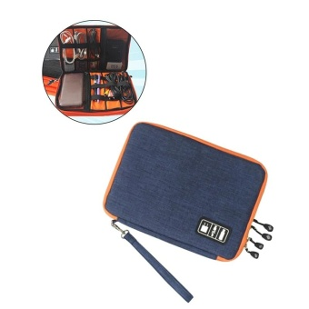 Large Electronics Accessories Organizer Earphone Cable USB FlashDrives Digital Storage Pouch Data Bag Case (Blue) - intl
