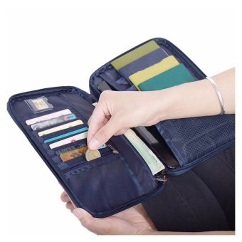 Large Passport Organiser Wallet Family Mens with Over 18 SlotsPockets for Travel Documents - Blue - intl