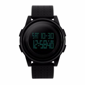 Latest Model Skmei 5Bar Waterproof Ultra Thin LED Digital Watch MenBlack PU Strap Women Outdoor Sports Watches Fashion UnisexWristwatches 1206 (Black) - intl