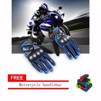 lazada and USA best selling Full Finger Motorcycle Cycling RacingRiding Protective Gloves M L XL (Black+Blue) With Motorcyclehandlebar sleeve