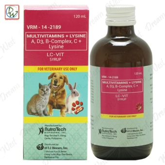 LC-VIT Multivitamins Lysine Syrup Dog Multivitamins for Pets Dogs and Cats 120mL