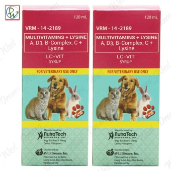 LC-VIT Multivitamins Lysine Syrup Dog Multivitamins for Pets Dogs and Cats 120mL Set of 2