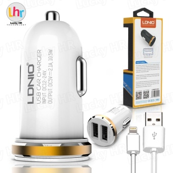 LDNIO DL-C22 Auto Car Charger for iphone (White/Gold)