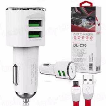 LDNIO DL-C29 2 USB Port Car Charger With Cable for Android SmartPhone(White)
