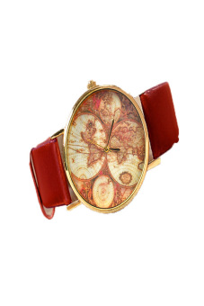 Leather Alloy Vintage Analog Quartz Watches Wristwatch(Red) - picture 2
