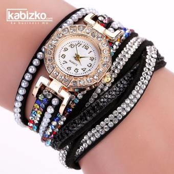 Leather Bracelet Wrist Watch Diamond Crystal Design for Women