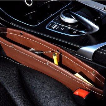 Leather Car Seat Gap Filler, Car Seat Side Console Slit Caddy Catcher Storage Box Pad Pocket Premium -Brown - intl