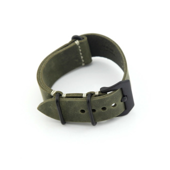 Leather Replacement Watch Band Strap Belt 22mm For Man or Woman (Dark green)