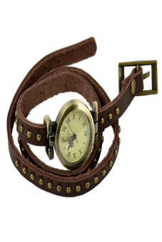 Leather Strap Roma Number Dial Quartz Woman Watch (Dark brown) - picture 2