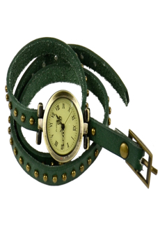 Leather Strap Roma Number Dial Quartz Woman Watch (Green) - picture 2