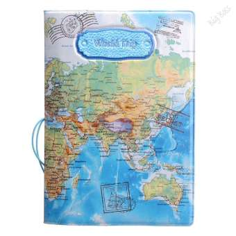 Leather World Map Passport Holder Organizer Travel CardCaseDocument Cover HOT Blue - intl