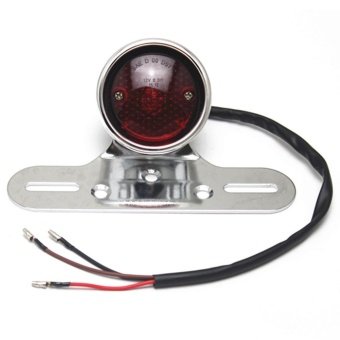 LED Round Red Brake Tail Light for Harley Cafe Racer ChopperBobber(Silver) - intl