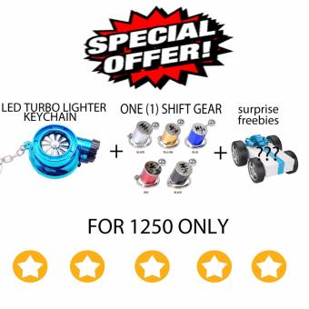 LED Turbo lighter keychain + shift gear keychain (blue)