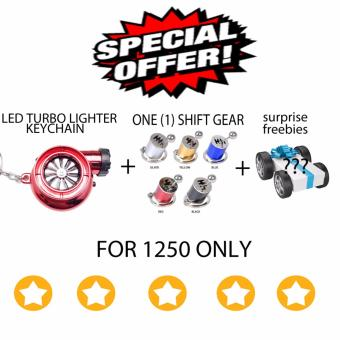 LED Turbo lighter keychain + shift gear keychain (red)