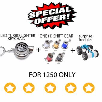 LED Turbo lighter keychain + shift gear keychain (silver)
