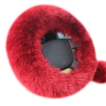 leegoal Universal Steering Wheel Cover Plush Wool Soft Fluffy Steering Cover Guard Truck Car Accessory 1 Set 3 Pcs Red - Intl