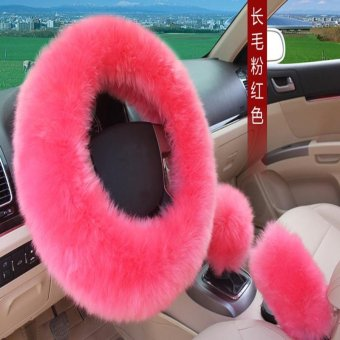 leegoal Universal Steering Wheel Cover Plush Wool Soft FluffySteering Cover Guard Truck Car Accessory 1 Set 3 Pcs Pink - Intl
