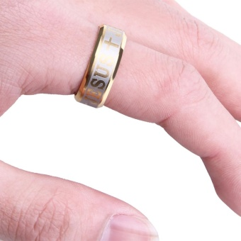 Letter Cross Embellishment Stainless Steel Rings for Men - intl - 2