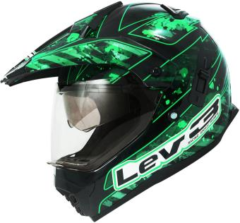 Lev3(R) DualSport Motard BJ-8910 Army Motorcycle Helmet (Black/Green) Price Philippines