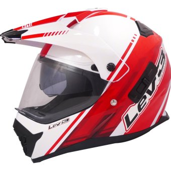 Lev3(R) DualSport Motard BJ-8910 Chill Motorcycle Helmet (White/Red) Price Philippines