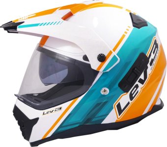 Lev3(R) DualSport Motard BJ-8910 Chill Motorcycle Helmet(White/Orange) Price Philippines