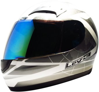 Lev3(R) FullFace BJ-9900 Galaxy Motorcycle Helmet (White/Silver) Price Philippines
