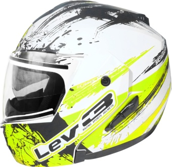Lev3(R) Modular BJ-5700 Ninja Motorcycle Helmet (Matte White/Neon Yellow) Price Philippines
