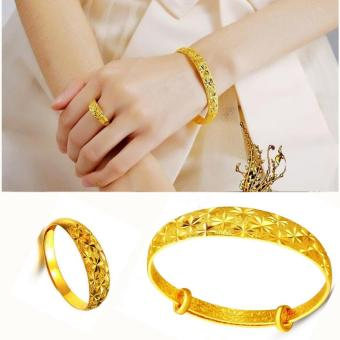 LIFEART Lady s' Wedding Jewelry Premium 24K Gold Woman HandcraftAdjustable Bangle & Ring set(starry) - intl